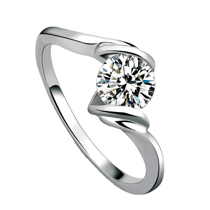 Simple Artificial Diamond Heart-Shaped Crystal Zircon Wedding Ring