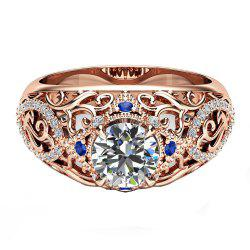 New Delicate Flower Openwork Carved Artificial Diamond Ring -