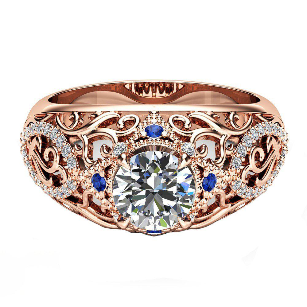 Online New Delicate Flower Openwork Carved Artificial Diamond Ring