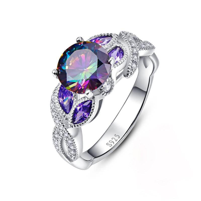 Outfit Creative Colorful Water Drop Copper Crystal Zircon Ring