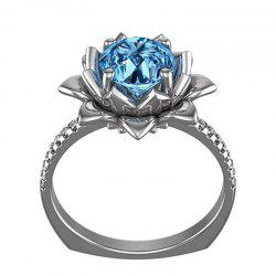 Creative Flower Artificial Diamond Crystal Zircon Ring -