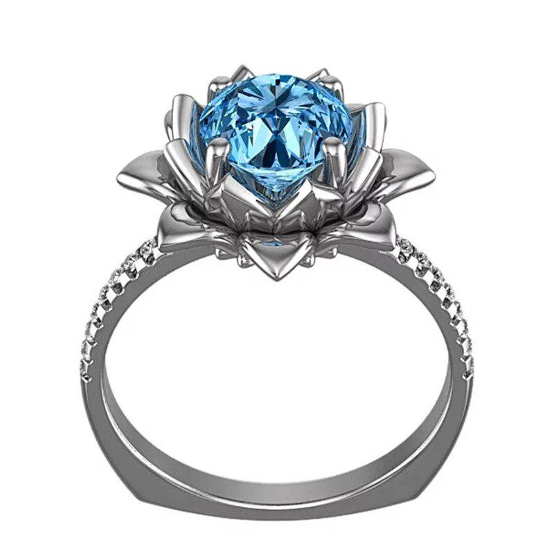 Fashion Creative Flower Artificial Diamond Crystal Zircon Ring