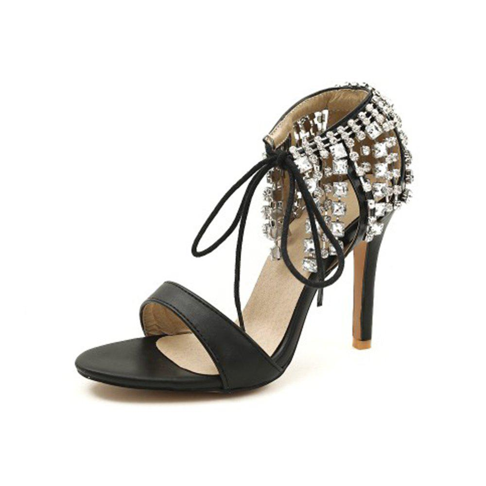 Best Summer Word Open Toe Fine with Rhinestone Fringed Lace High Heel Sandals