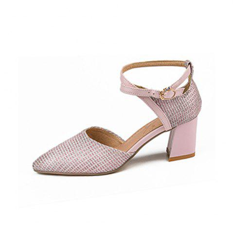 Spring and Summer Pointed Thick with Cross Strap Buckle High Heel Sandals