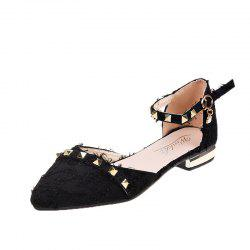 FlatSoled Shoes With OneWord Button Rivet And Pointed Head -