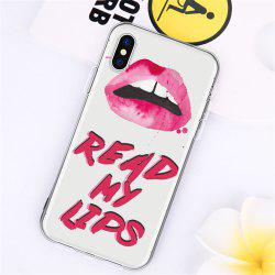 Text Red Lip TPU Wear Proof Soft Protective Case for iPhone X -