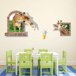3D Stereo Funny Giraffe Stickers Bedroom Decoration Landscaping Creative Sticker -