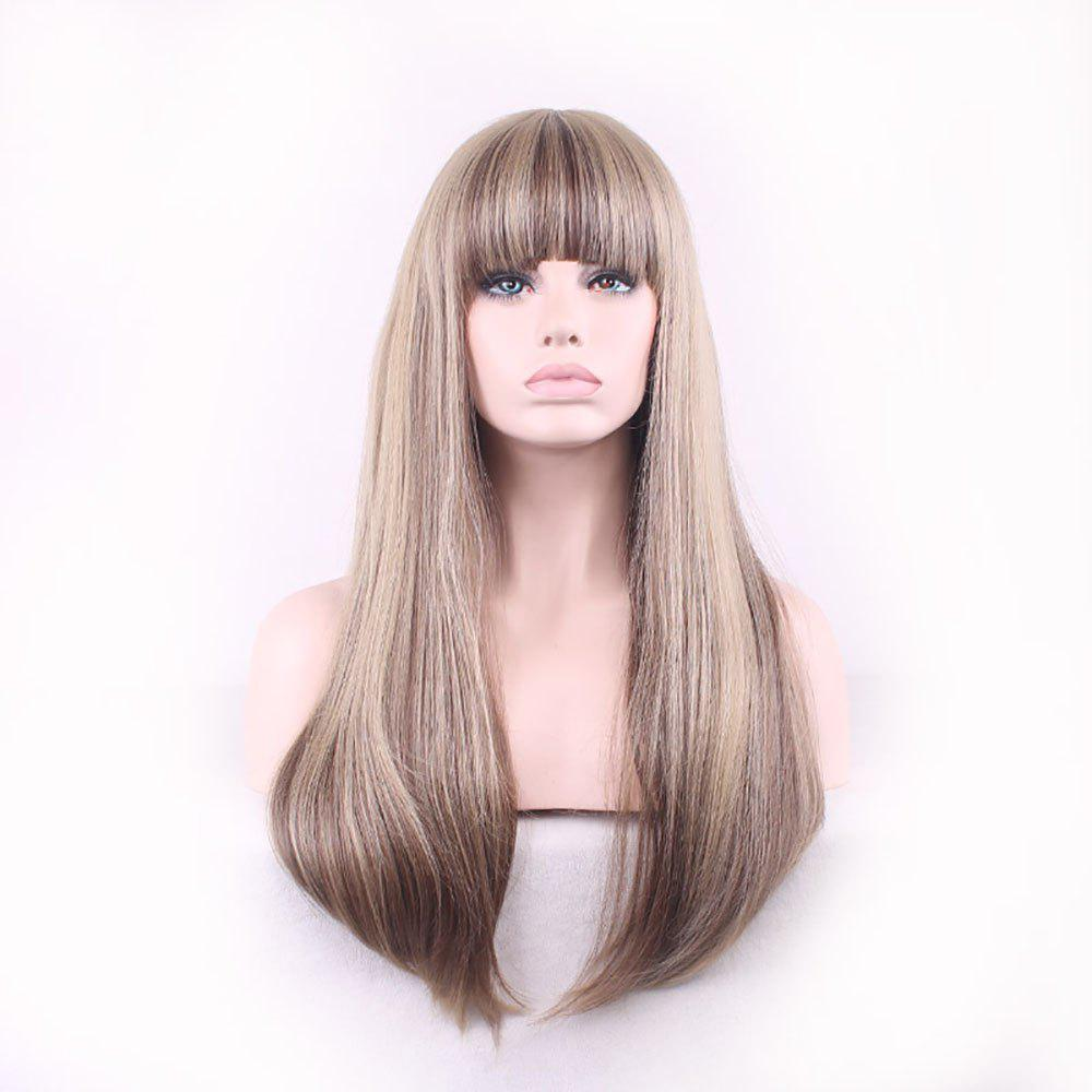 Online Fashion New Multicolor Mixed Spell Long Hair Wig