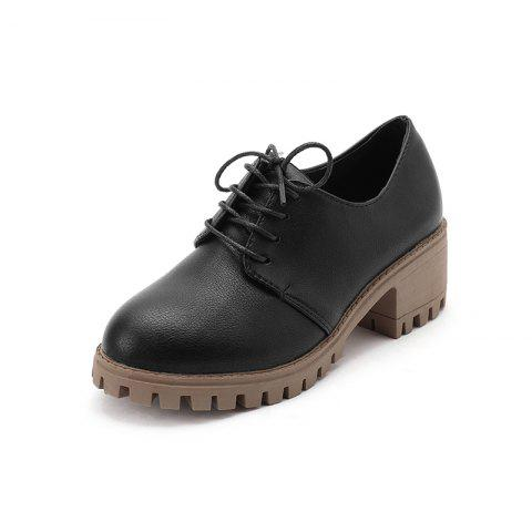 New Baitao Thicksoled Mediumheeled Casual Single Shoes