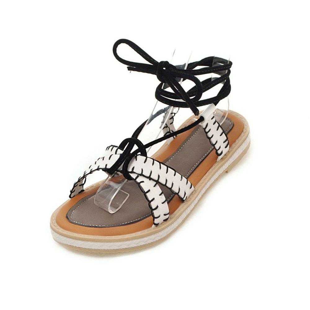 Chic Summer Word Open Toe Cross Strap Flat Bottom Simple with Sandals