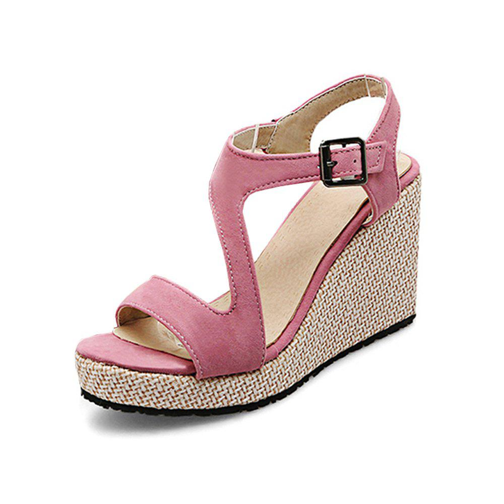 New Summer Wedge with An Open Toe Straw High Heel Buckle Women'S Sandals