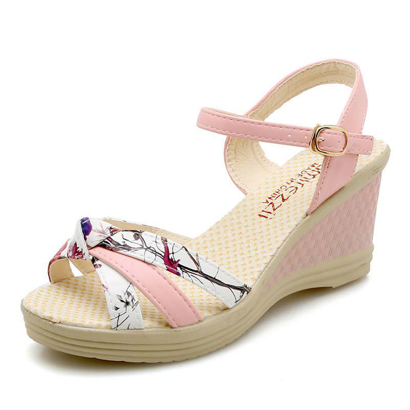 Sale Fashion Buckle Sandals With Sloping Heels