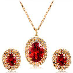Gold-Plated Zircon-Embedded Red Egg-Shaped Crystal Pendant Necklace Earrings Set -