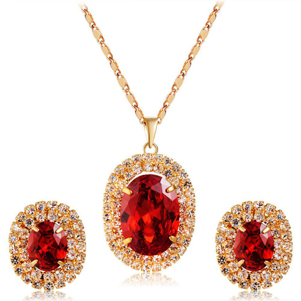 Shop Gold-Plated Zircon-Embedded Red Egg-Shaped Crystal Pendant Necklace Earrings Set