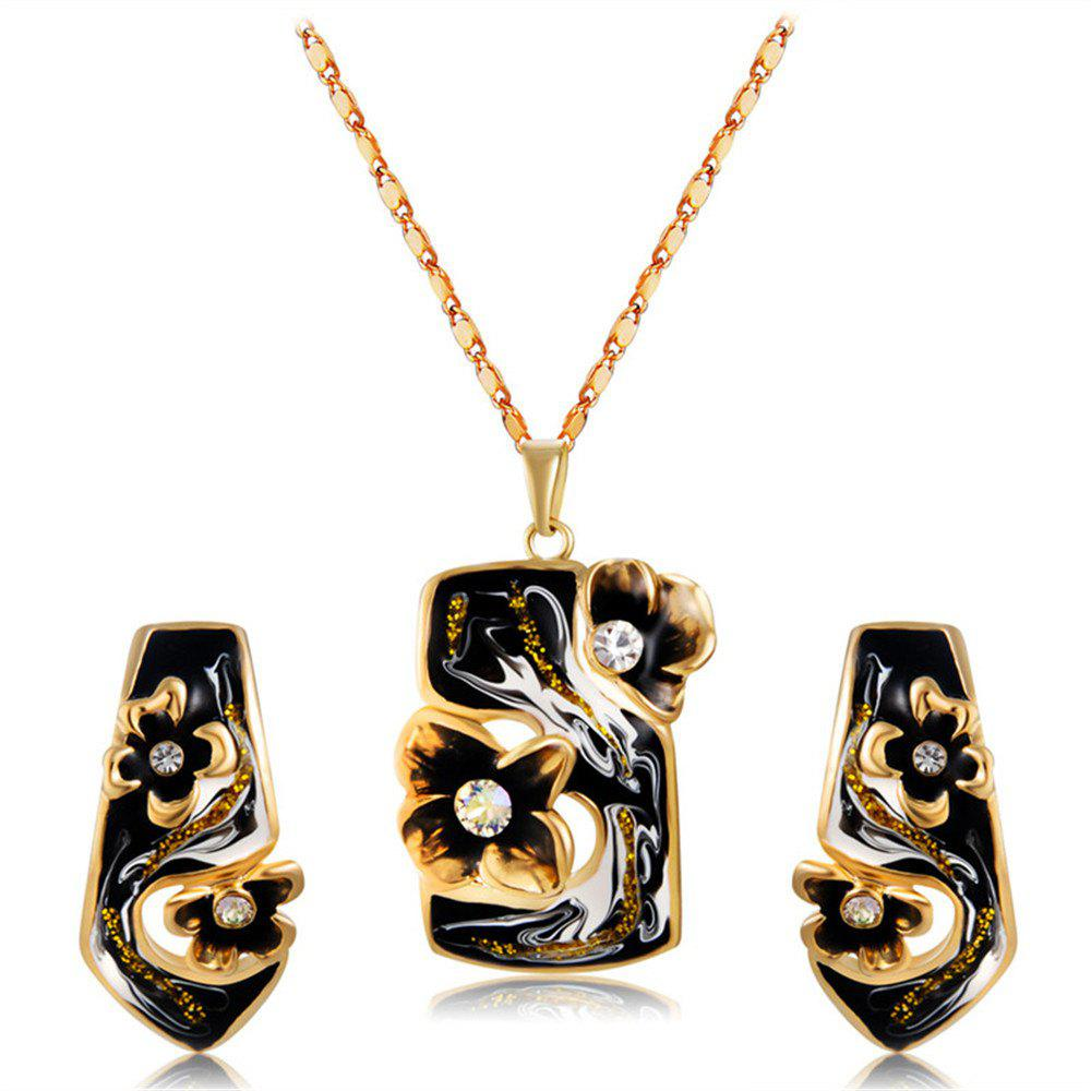 Outfits Gold Plated Black Drop Oil Flower Zircon Pendant Necklace Earring Set