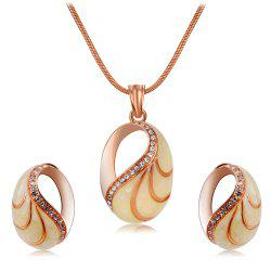 Rose Gold-Plated Snail Shell Style Zircon Necklace Earrings Set -