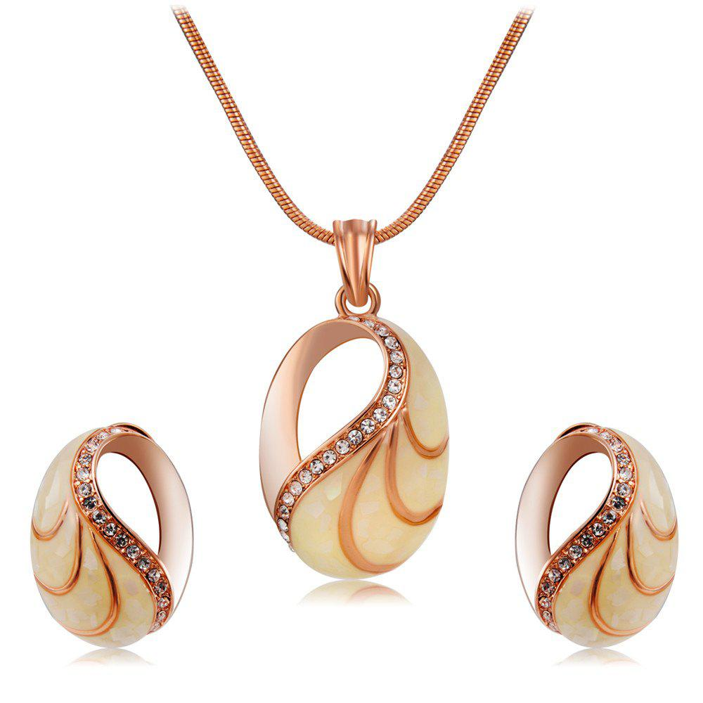 Best Rose Gold-Plated Snail Shell Style Zircon Necklace Earrings Set