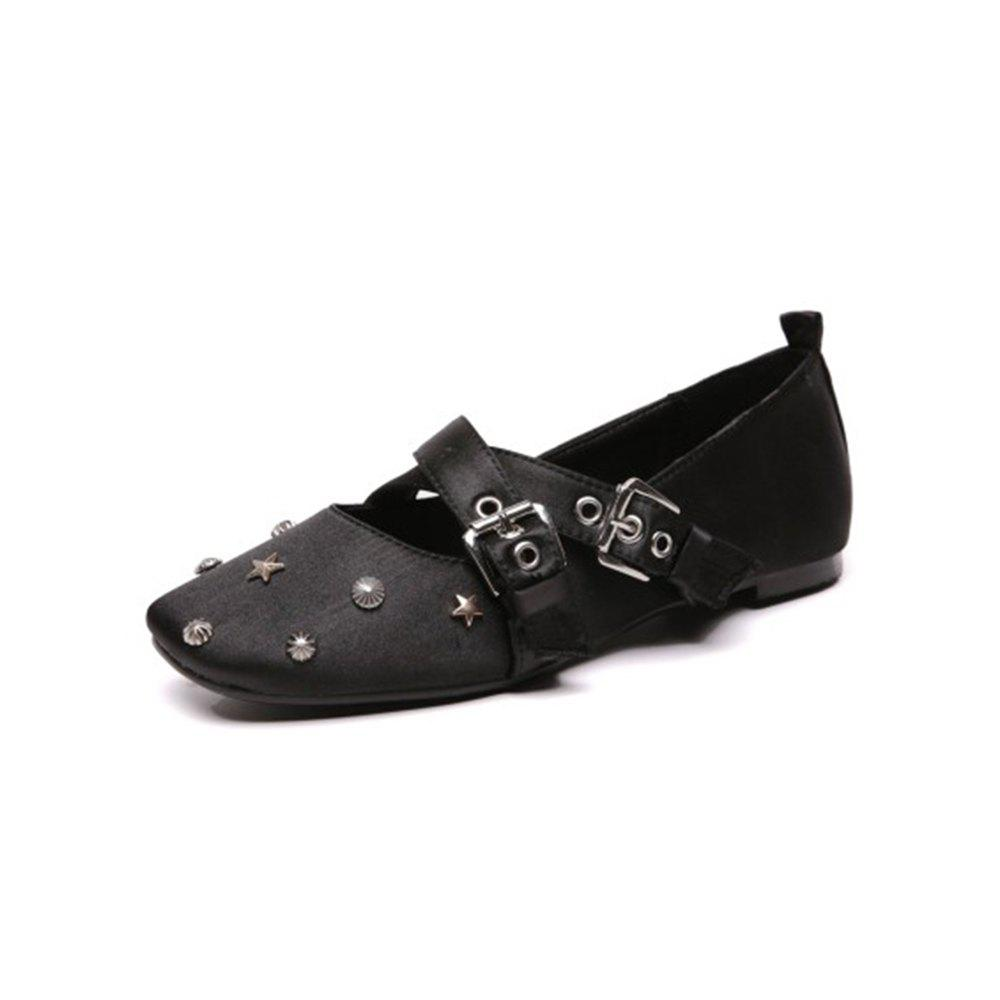 Sale Spring and Summer Square Head Cross Strap Buckle Belt Pearl Set Foot Flat Shoes