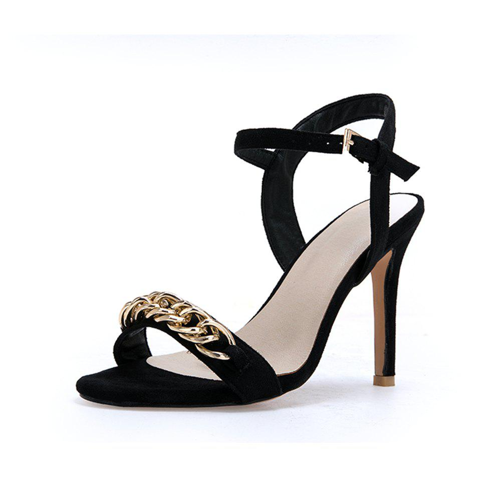 Trendy Summer Metal Decoration Word Open Toe Fine High Heel Nightclub Fashion Sandals