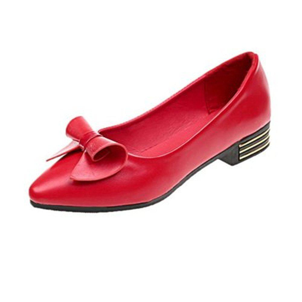 Trendy Sharp Shallow Mouth Female Low Bow Bean Shoes