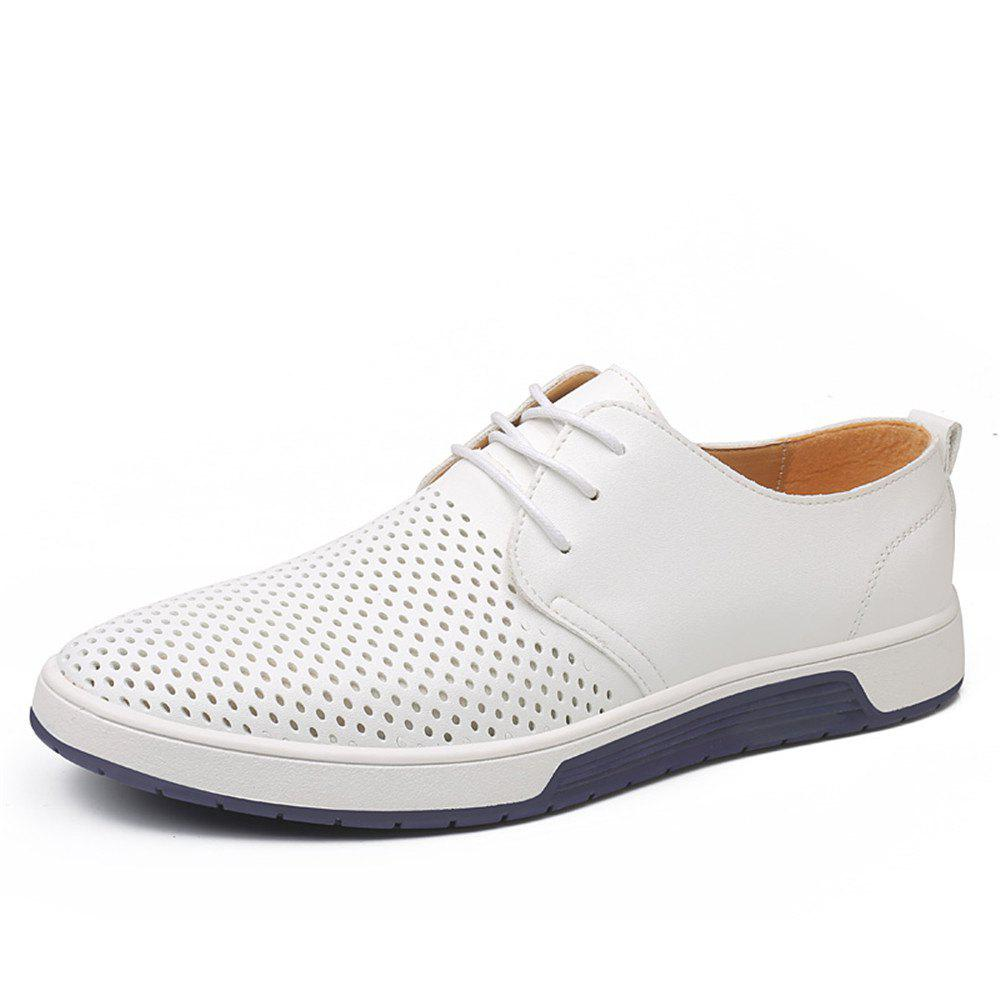 Men Casual Shoes Leather Summer Breathable Holes Brand Flat Shoes