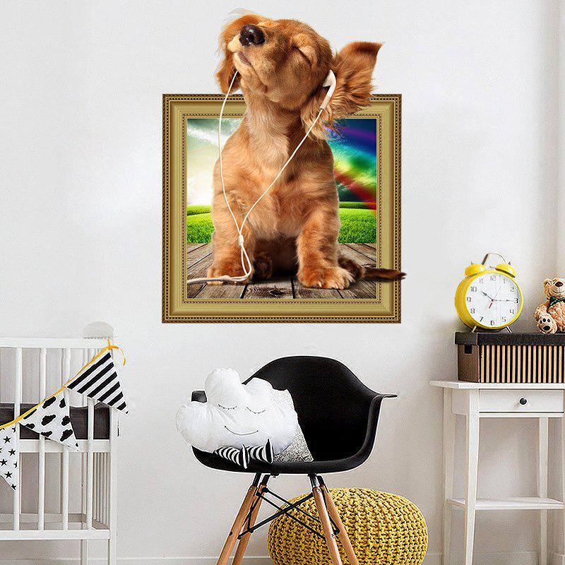 3D Simulation Cute Bedroom Animal Children'S Room Dog Wall Sticker