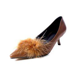 Spring and Autumn Pointed Fluffy Cat with Set of Feet Solid Color Shoes -