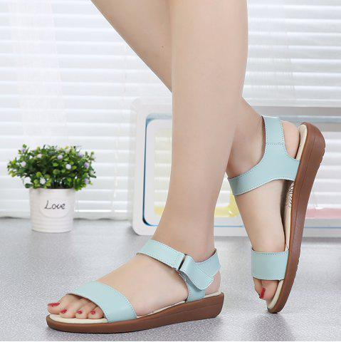 Women Leather Sandals Summer Peep-Toe Flat Soft Sandalias