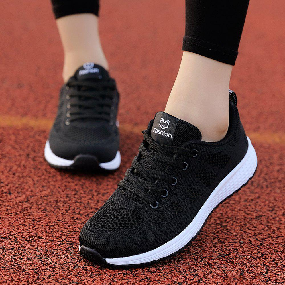 Fashion Women Casual Shoes Fashion Breathable Walking Mesh Lace Up Flat Shoes Sneakers