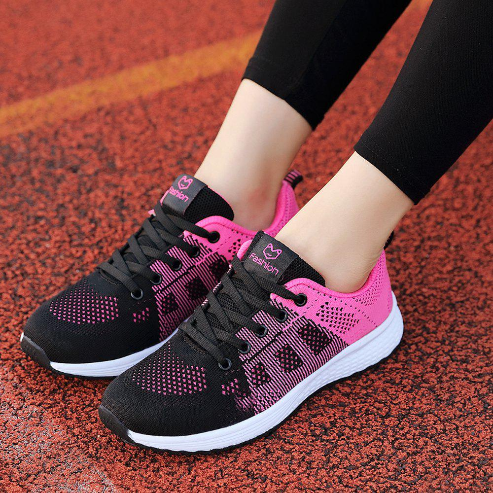 Buy Women Casual Shoes Fashion Breathable Walking Mesh Lace Up Flat Shoes Sneakers