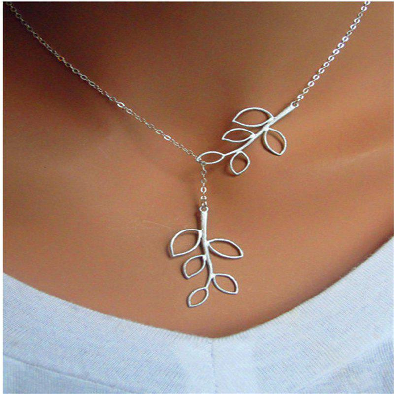 Latest Leaf Metal short Necklace lady Clavicle Chain