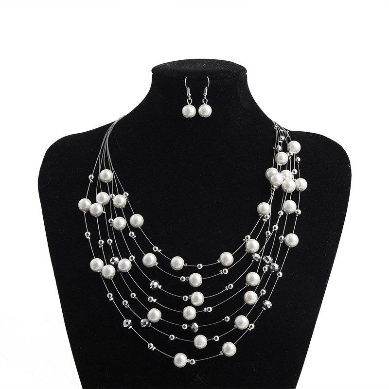 c6b402ef7 Online Temperament Multi-Layer Pearl Necklace Clavicle Chain Short Necklace  Decoration