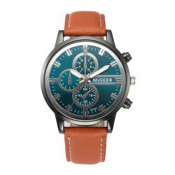 Men'S Creative Leather Quartz Wrist Watch -