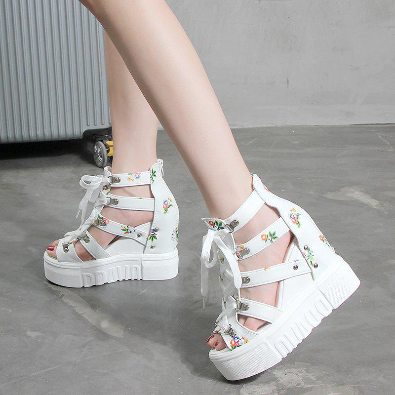 Fancy Thick Bottom Slope with Belted Female Sandals