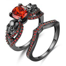 Black Plated Gold with Zircon Retro Punk Skull Women Ring -