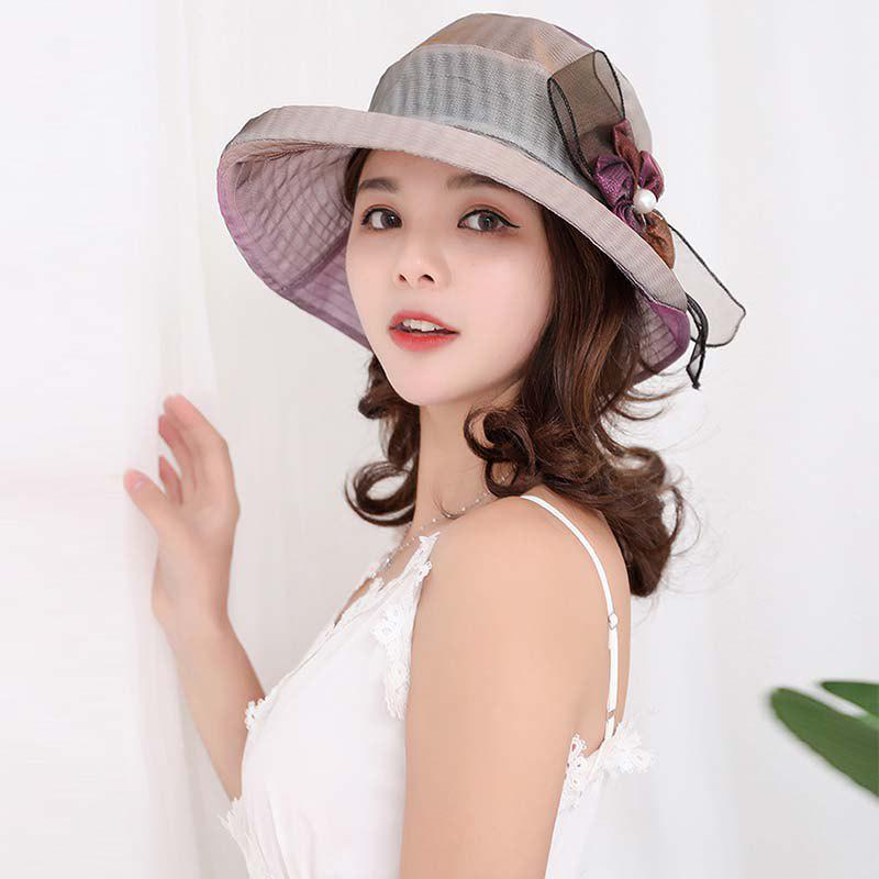 Online New Woman Fashion Light Floral Sunscreen Breathe Freely Elegant Grace Hat T0324