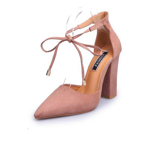 FurFaced WomenS Shoes With Thick Heels And Pointed Toes