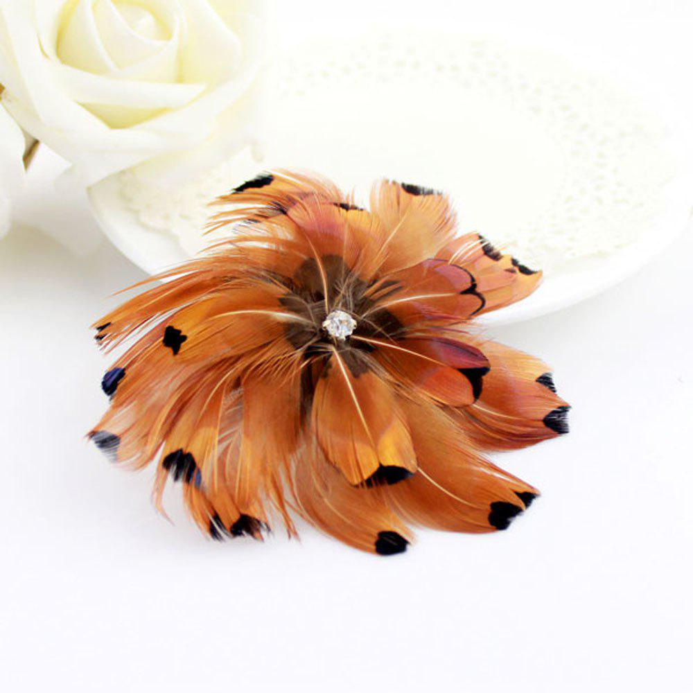 Online Fashionable Red-Brown Feather Hairpin