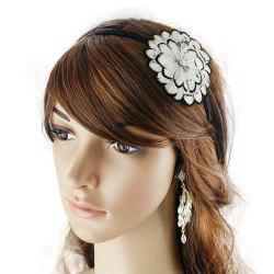 Fashionable White Flower Feather Hair Hoop -