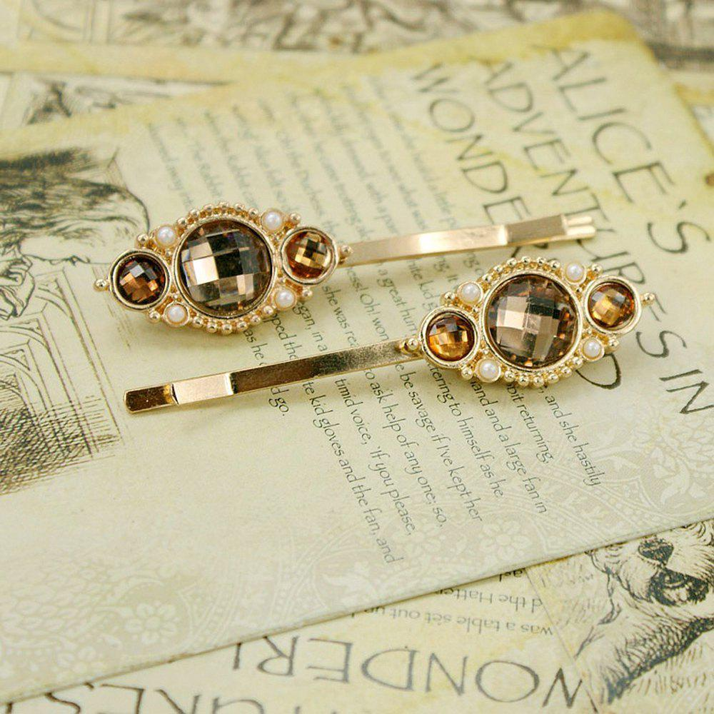 Latest 2/ps Fashionable Yellow Gem Hairpin