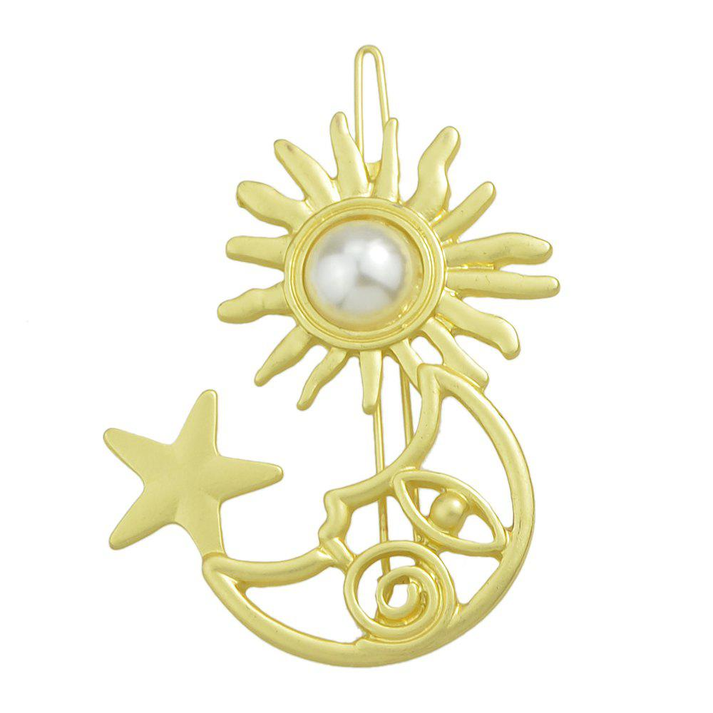 Outfit Fashion Golden Star Moon Pearl Hairpin