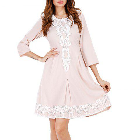 Solid Color 3/4 Length Sleeve High Waist Lace Party Dress