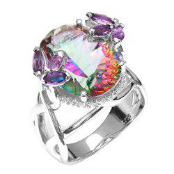 Stylish and Simple Trend Artificial Diamond-Studded Colorful Ring -