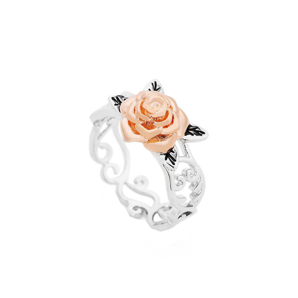 Online Creative Trend Rose Gold Flower Openwork Color Ring