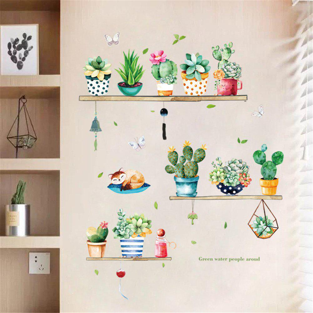 Green Potted Plant Cactus Sticker Paper Decorative Wall Sticker for Home Wall