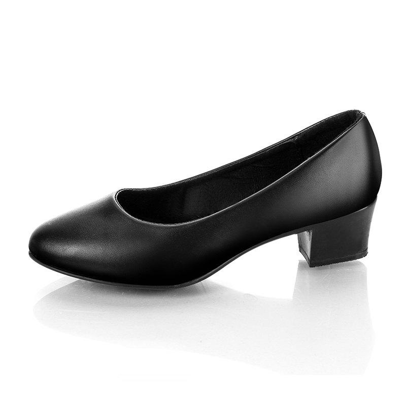 Affordable Middle Heels Thick Heels Fashion black Work Shoes womens Singles 717