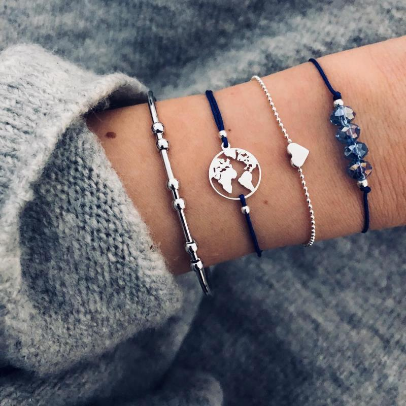 New Love Map Beads Bracelet Bracelet Bracelet Four-Piece Suit Anklet