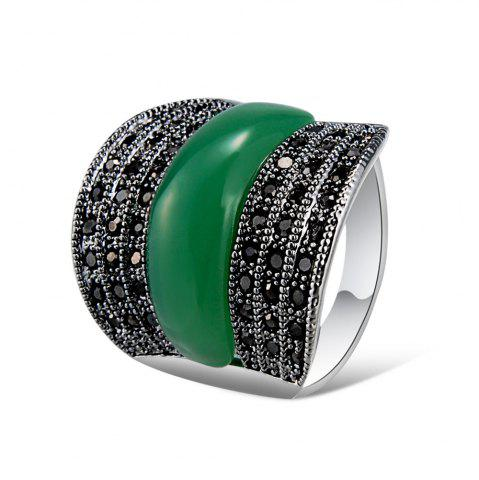 Wide-Faced Green Strip Crystal Ring