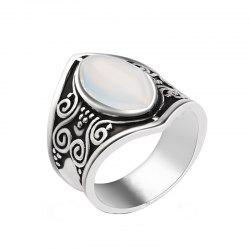 Creative New Carved Moonstone Exaggerated Punk Style Ring -