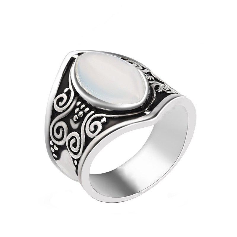 Buy Creative New Carved Moonstone Exaggerated Punk Style Ring